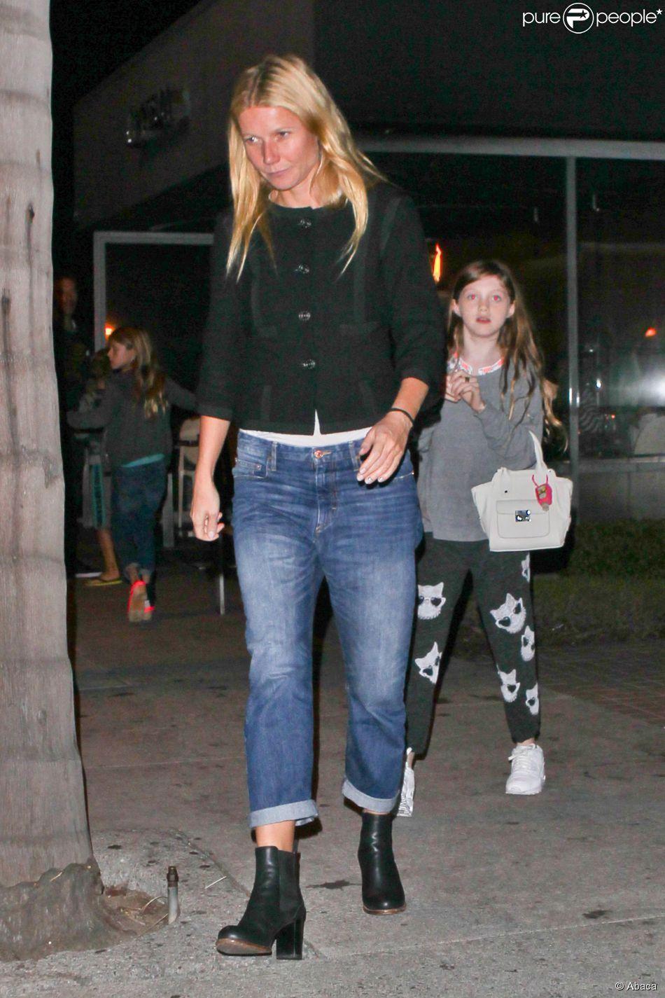 Gwyneth Paltrow dîne avec son ex Chris Martin au restaurant Katsuya de Brentwood, le 21 octobre 2014.