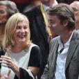 Michèle Laroque et son compagnon François Baroin lors des demi-finales du BNP Paribas Masters au Palais Omnisport de Paris Bercy, à Paris le 1er novembre 2014