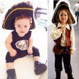 """Skyler et   Kaius """"Kai"""" (les deux garçons de Rachel Zoe) déguisés et Jack Sparrow pour  Halloween 2014"""