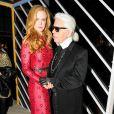 """Nicole Kidman et Karl Lagerfeld assistent au dîner """"Louis Vuitton celebrating Monogram"""" organisé par Louis Vuitton au MoMA. New York, le 7 novembre 2014."""