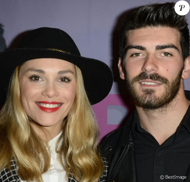 """Joy Esther et son compagnon Andrea - Générale du One Man Show d'Arnaud Ducret """"Arnaud vous fait plaisir"""" à l'Alhambra à Paris, le 13 novembre 2014."""