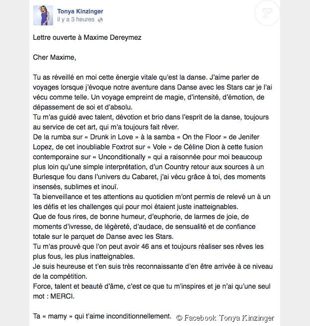 """Eliminée avec Maxime Dereymez de """"Danse avec les stars 5"""" sur TF1, Tonya Kinzinger a rédigé une belle lettre d'amour et d'amitié à son danseur. Dimanche 16 novembre 2014."""