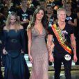 Tonya Kinzinger (robe Elie Saab) et Leila Ben Khalifa - Cérémonie Top Model Belgium 2014 au Lido à Paris, le 23 novembre 2014