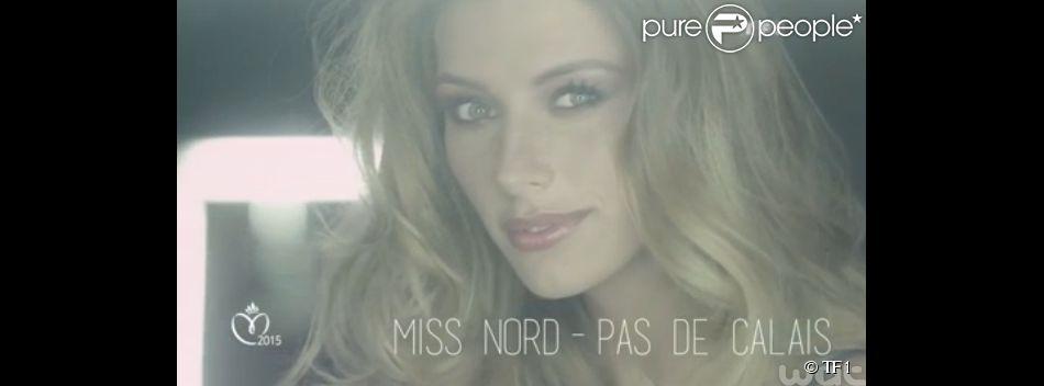 Camille Cerf, Miss France 2015, se mue en vedette de cinéma dans une courte vidéo promotionnelle de la cérémonie.