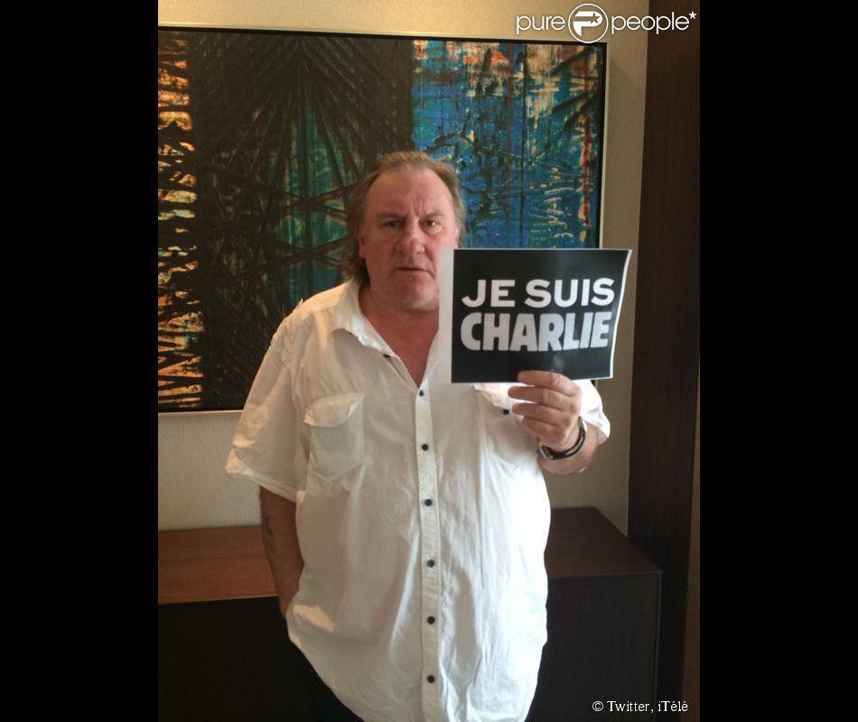 Gérard Depardieu soutient Charlie Hedbo depuis la Turquie. Photo postée par iTélé le 8 janvier 2015.