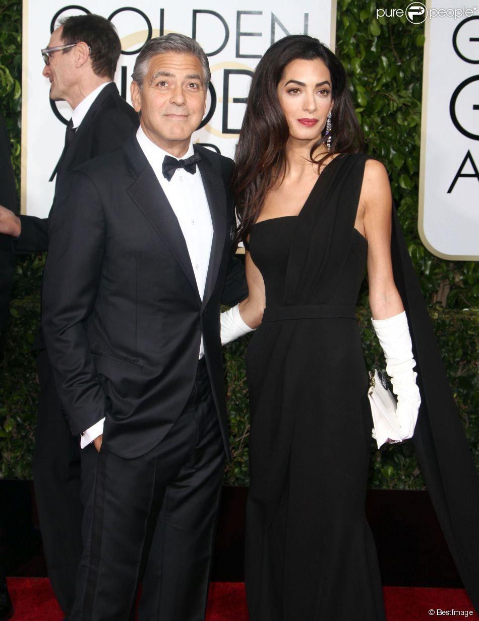 George Clooney et sa femme Amal Alamuddin - 72e cérémonie annuelle des Golden Globe Awards à Beverly Hills, le 11 janvier 2015.