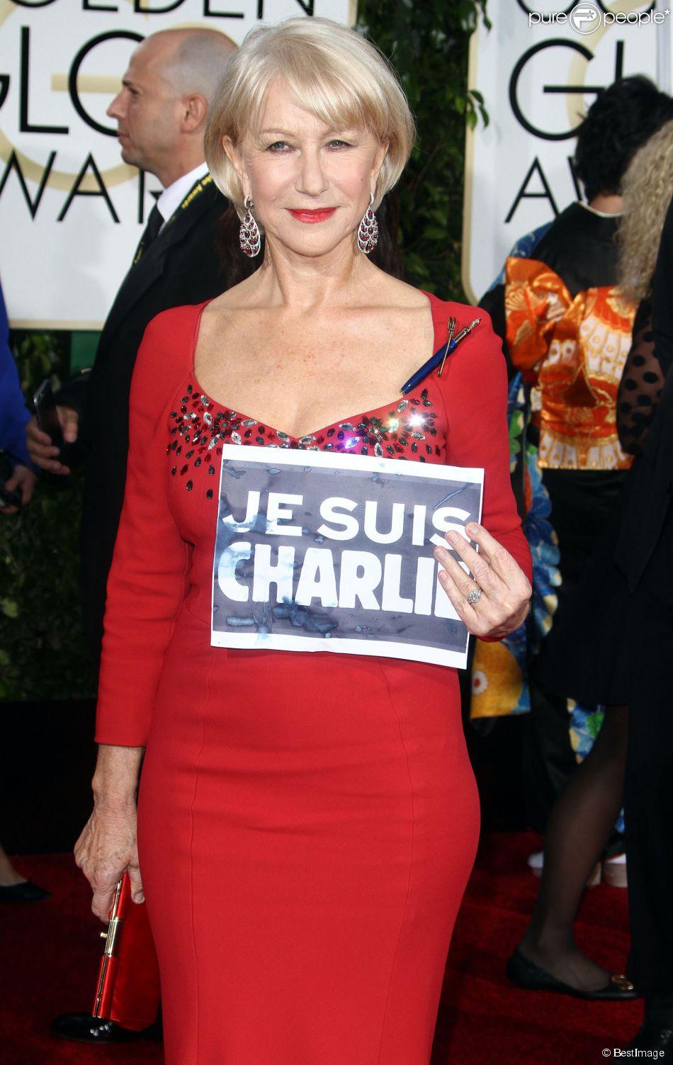 """Helen Mirren - """"Je suis Charlie"""" à la 72e cérémonie annuelle des Golden Globe Awards à Beverly Hills, le 11 janvier 2015."""