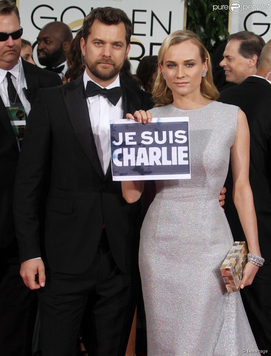 """Diane Kruger et son compagnon Joshua Jackson - """"Je suis Charlie"""" à la 72e cérémonie annuelle des Golden Globe Awards à Beverly Hills, le 11 janvier 2015."""