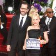 """Patricia Arquette et son compagnon Eric White - """"Je suis Charlie"""" à la 72e cérémonie annuelle des Golden Globe Awards à Beverly Hills, le 11 janvier 2015."""