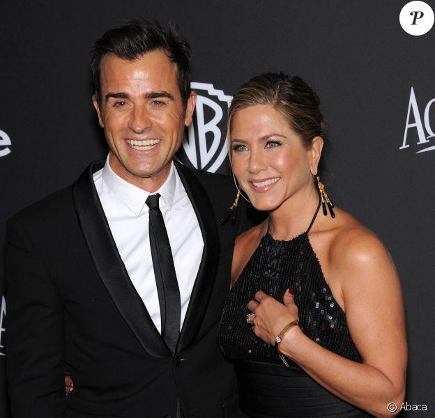 Justin Theroux et Jennifer Aniston assistent à l'after-party des Golden Globe Awards organisée par Warner Bros et InStyle au Beverly Hilton Hotel. Beverly Hills, le 11 janvier 2015.