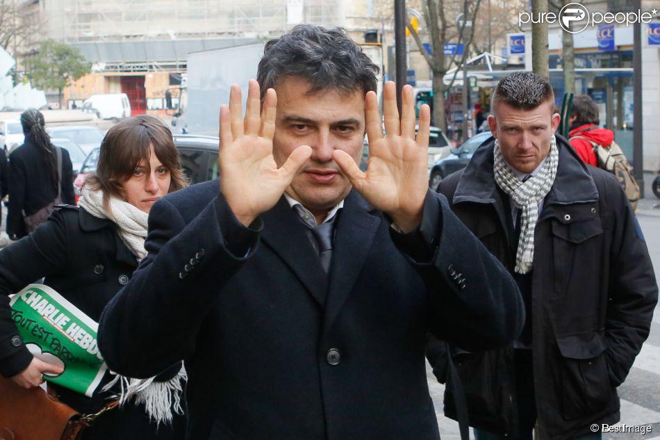 Patrick Pelloux - Obsèques du dessinateur Honoré (Philippe Honoré) et du correcteur de Charlie Hebdo Mustapha Ourrad au cimetière du Père-Lachaise à Paris, le 16 janvier 2015