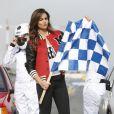 La nouvelle compagne de Fernando Alonso, Lara Alvarez ,en pleine promotion pour la marque Peugeot à Madrid, le 20 janvier 2015.