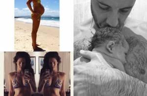 Example papa : Sa Miss Erin McNaught déjà mince, leur bébé Evander craquant...