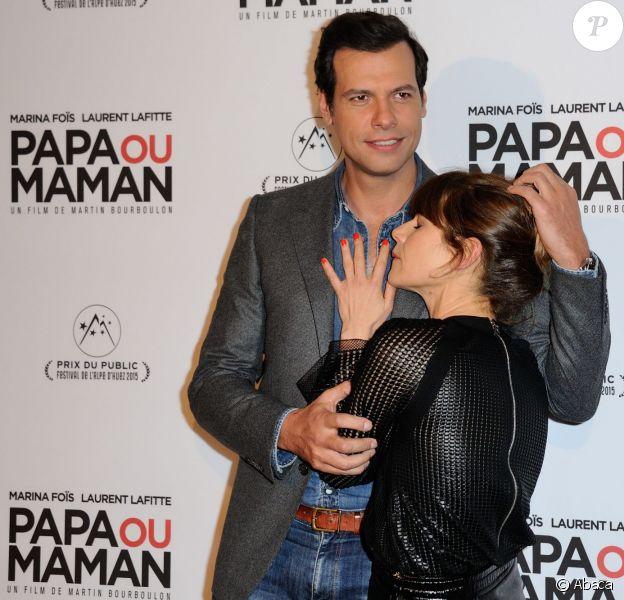 Laurent Lafitte et Marina Foïs à la première de Papa ou Maman à Paris, le 26 janvier 2015.