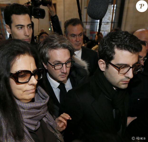 Francoise Bettencourt-Meyers et ses fils, Jean-Victor et Nicolas Meyers, avec leur avocat maître Arnaud Dupin - Deuxième jour du procès Bettencourt au tribunal de Bordeaux, le 26 janvier 2015.
