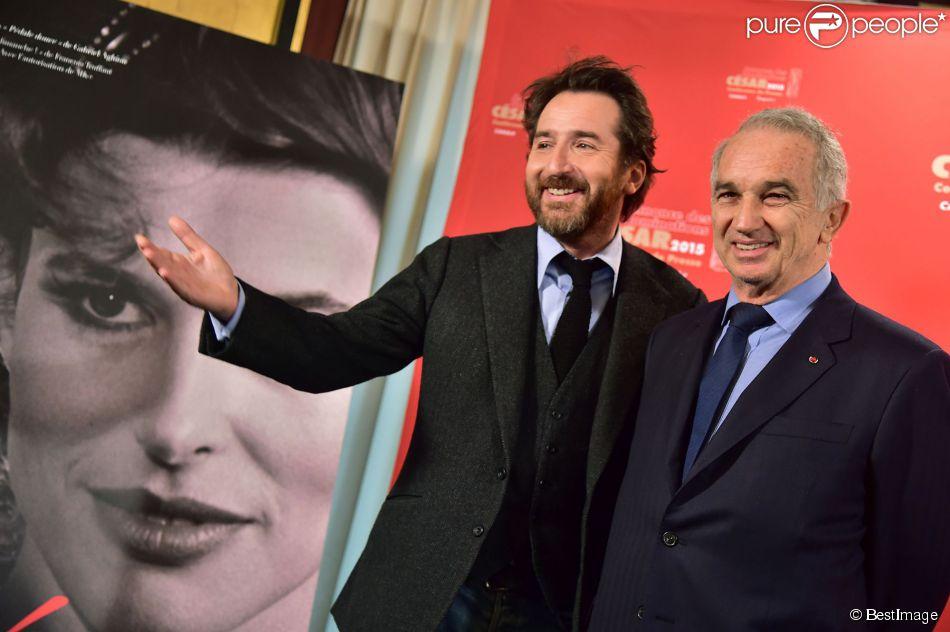 Edouard Baer et Alain Terzian - Conférence de presse de la présentation des nominés de la cérémonie des César 2015 au Fouquet's à Paris le 28 janvier 2015. La cérémonie des César 2015 se tiendra le 20 février 2015.