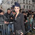 La chanteuse Dièse arrive au défilé Jean Paul Gaultier, collection haute couture printemps-été 2015 à Paris le 28 janvier 2015.