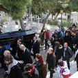 Obsèques du chanteur Demis Roussos au Premier Cimetière d'Athènes en Grèce. Le 30 janvier 2015.