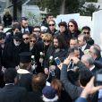 Costas le frère de Demis Roussos, Emilie et Cyril (enfants de Demis Roussos) - Obsèques du chanteur Demis Roussos au premier cimetière d'Athènes en Grèce le 30 janvier 2015.