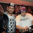 """DJ Moox (Mourad Moox) & DJ Tefa (Hichem Bonnefoi) lors de la soirée """"Les musiques de la Gioia"""" animée par DJ Tefa & DJ Moox, au restaurant La Gioia à Paris le 28 janvier 2015"""