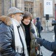Michel Legrand et sa femme Macha Méril - Hommage à José Artur en l'église Saint-Germain-des-Prés à Paris le 7 février 2015