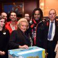 Bernadette Chirac et Christian Karembeu ont fait une halte à Nice dans le cadre de la tournée des Pièces jaunes, le samedi 7 février 2015