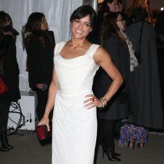 Michelle Rodriguez arrive au Cipriani Wall Street pour assister au gala pré-Fashion Week de l'amfAR 2015. New York, le 11 février 2015.