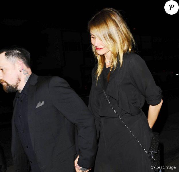 Les frères jumeaux Joel et Benji (Benjamin) Madden arrivent au restaurant Giorgio Baldi pour fêter la Saint-Valentin avec leurs femmes respectives, Nicole Richie et Cameron Diaz, à Santa Monica, le 14 février 2015.