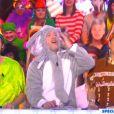 Bertrand Chameroy, en Robin des bois, Jean-Michel Maire en éléphant, et Valérie Benaïm en Pocahontas dans TPMP, sur D8, le mardi 17 février 2015