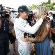 Nico Rosberg et Vivian Sibold lors de la victoire du pilote au Grand Prix de Monaco le 25 mai 2014
