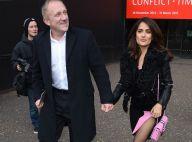 Fashion Week : Salma Hayek, modeuse sexy à Londres, avec son mari