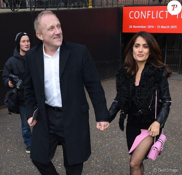 François-Henri Pinault et Salma Hayek arrivent au défilé Christopher Kane automne-hiver 2015-2016. Londres, le 23 février 2015.