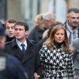 Manuel Valls et sa femme Anne Gravoin lors de la Marche républicaine pour Charlie Hebdo à Paris, suite aux attentats terroristes survenus à Paris les 7, 8 et 9 janvier. Paris, le 11 janvier 2015