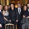 Manuel Valls avec sa femme Anne Gravoin, Patrick Bruel, Sidney Toledano, Natalie Portman et son mari Benjamin Millepied lors du 40ème anniversaire du Conseil Pasteur-Weizmann à l'Opéra Garnier à Paris le 12 janvier 2015.