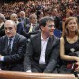Jean Gachassin, président de la FFT (Fédération Française de Tennis), Manuel Valls et sa femme Anne Gravoin assistent à la finale de l'Open Masters 1000 de Tennis Paris Bercy à Paris le 2 novembre 2014.