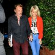 """""""Johnny Hallyday et sa femme Laeticia sont allés dîner avec des amis au restaurant """"Giorgio Baldi"""" à Santa Monica, le 25 février 2015."""""""