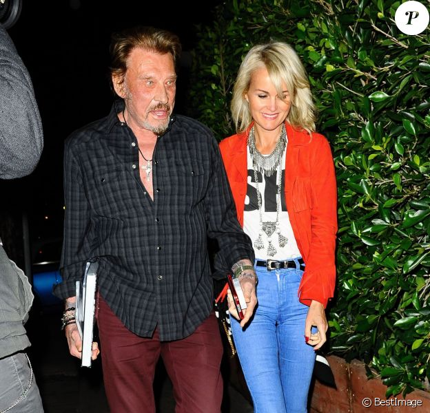 """Johnny Hallyday et sa femme Laeticia sont allés dîner avec des amis au restaurant """"Giorgio Baldi"""" à Santa Monica, le 25 février 2015."""