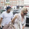 Pamela Anderson et son mari Rick Salomon arrivent à Roskilde sur l'île de Seeland, le 28 juillet 2014.
