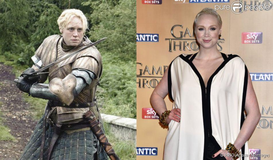 """Gwendoline Christie dans la série """"Game of Thrones"""" et l'actrice à l'avant-première mondiale de la saison 5 organisée à Londres, le 18 mars 2015."""