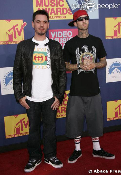 DJ AM et Travis Barker lors des MTV Video Music Awards le 7 Septembre 2008