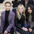 Dianna Agron, Chloë Moretz et Selena Gomez au défilé Louis Vuitton prêt-à-porter collection Automne-Hiver 2015-2016 à Paris, le 11 mars 2015.