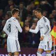 Cristiano Ronaldo et Toni Kroos (Real Madrid) lors du Clasico FC Barcelone - Real Madrid au Camp Nou. Barcelone, le 22 mars 2015.