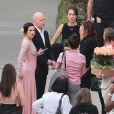 """Bruce Willis et son ex-femme Demi Moore ainsi que sa nouvelle épouse Emma Heming sont venus soutenir leur fille Rumer, qui participe à la nouvelle saison de l'émission """"Dancing with the Stars"""" à Hollywood le 16 mars 2015."""