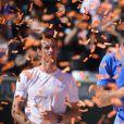 Novak Djokovic et Andy Murray à l'issue de la finale du Masters de Miami, le 5 avril 2015