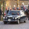 La reine Margrethe II de Danemark et le prince Henrik arrivant pour la soirée de gala organisée le 8 avril 2015 à Aarhus pour le 75e anniversaire de la souveraine.