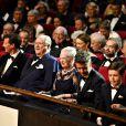 La reine Margrethe II de Danemark, en famille, assistait le 8 avril 2015 à Aarhus à une soirée de gala en l'honneur de son 75e anniversaire.