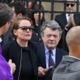 Cendrine Dominguez, Jean-Louis Borloo - Sorties des obsèques de Patrice Dominguez en la basilique Sainte Clotilde à Paris. Le 16 avril 2015 16/04/2015 - Paris