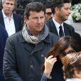 Pascal Bataille - Sorties des obsèques de Patrice Dominguez en la basilique Sainte Clotilde à Paris. Le 16 avril 2015