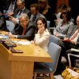 L'actrice Angelina Jolie intervient devant le Conseil de sécurité de l'ONU, en sa qualité d'envoyée spéciale du Haut commissariat de l'ONU, le vendredi 24 avril 2015