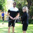 Jennie Garth et son fiancé David Abrams passent la journée au Golf de Calabasas, Los Angeles, le 26 avril 2015